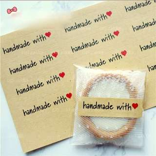 Handmade With Love Sealing Sticker Cookie Label Baking Labels Stickers Kraft Gift Packaging