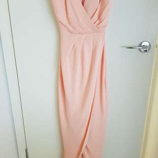 Sheike Reflections Maxi Dress Size 8 Peach