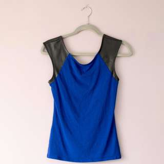 REDUCED Express blue top w/ leather sleeves