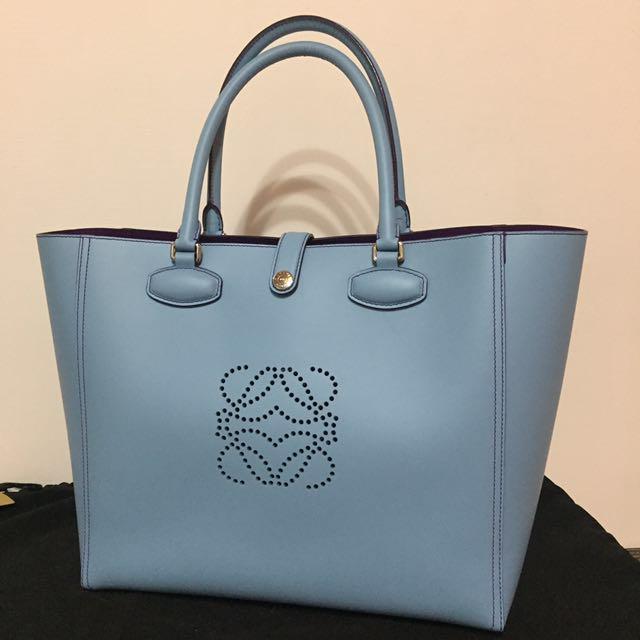 100% 真品 Loewe 小牛皮 淺藍x紫 雙色Leo Bag