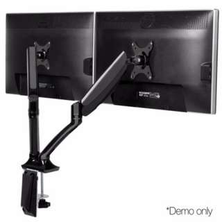Fully Adjustable Dual Monitor Arm Stand Black SKU: MA-D-GAS-BK
