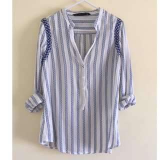 ZARA Embroidered Top Blouse - XS -