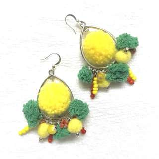 Handmade pompom earrings