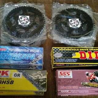 AR Motorcycle Racing Sprocket 49 Teeth (428) for Yamaha R15 132 links 130 links 140 links 428H grey steel gold SSS RK TAKASAGO DID