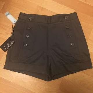 (NEW) Aritzia Talula Granada High Waisted Button Shorts In Dark Grey