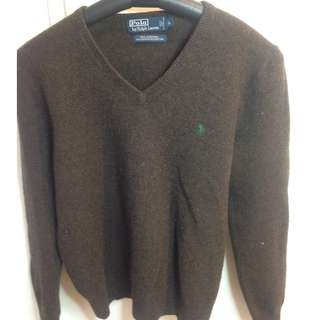 Polo Ralph Lauren 100% lambs wool v neck sweater size L