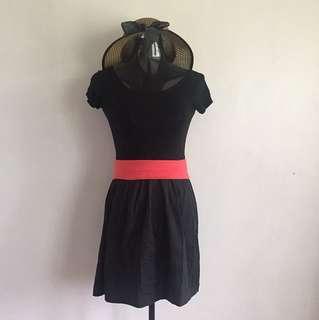 Black dress with red belt