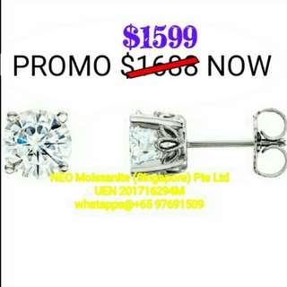 #Platinum (PT950) 4-Prong 2x 6.5mm (1 Carat) NEO™ Colourless Moissanite Earrings