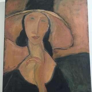 收藏品油畫複製畫 義大利 莫迪里亞尼 『戴帽子的珍妮』