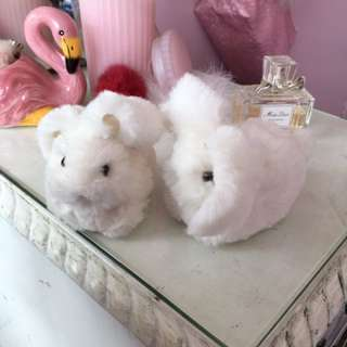 Fluffy faux fur bunny bunnies plushie a plush ornament deco