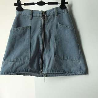 Denim zip up skirt