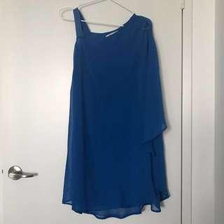 Draped asymmetrical flutter dress