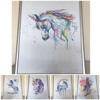 Unicorn Watercolor Prints In Frames