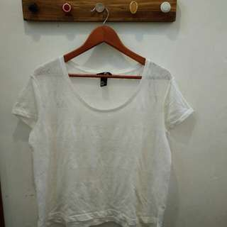 White Broccade Top by HnM