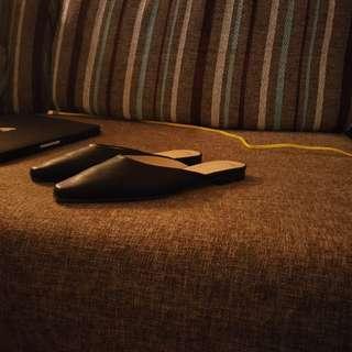 黑 穆勒 低根 尖頭 拖鞋 根鞋 皮 鞋 Room4dressup