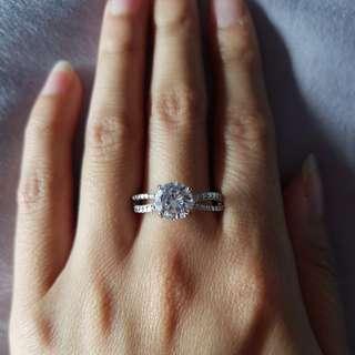 Size 9 Swarovski crystal silver ring