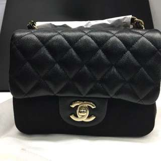 Brand New Chanel Mini Square in Caviar Black