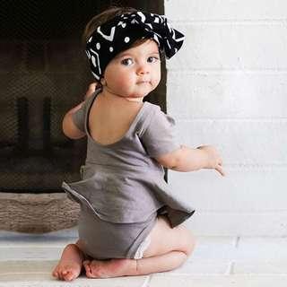 ✔️STOCK - GREY BASIC COTTON SHORT SLEEVES ROMPER DRESS TOP BABY TODDLER GIRL CHILDREN KIDS CLOTHING