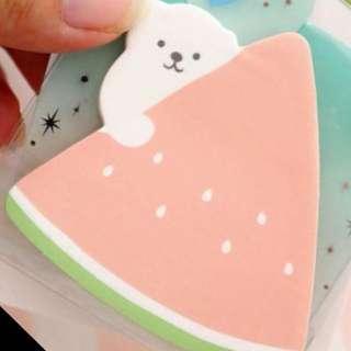 可愛白熊西瓜便利貼