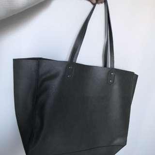 Zara dark green tote bag