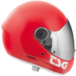 TSG Pass Satin Fire Red Downhill Skateboard Helmet