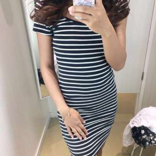 (100% ORI) HnM Bodycon Stripe Dress