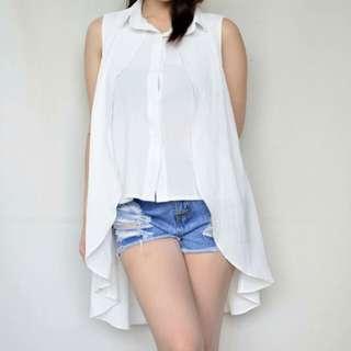 White long back sleeveless
