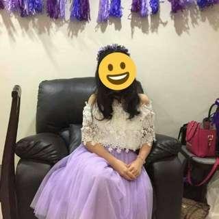 Purple Tulle Skirt & Headband
