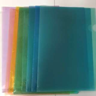 Assorted Colours L Shaped A4 Clear Plastic Files / Folders