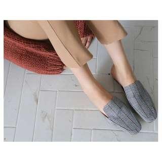 小安10月連線穿搭款 格紋平底穆勒鞋 #含運最划算