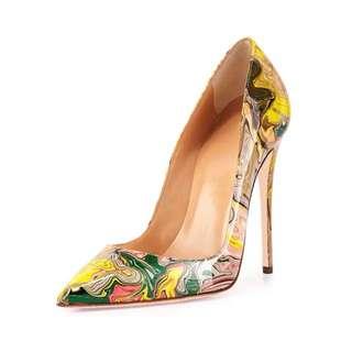 「新品推薦」歐美時尚加大尺碼塗鴉尖頭高跟鞋