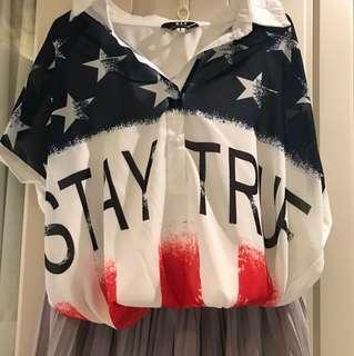 微透雪紡復古國旗半袖襯衫