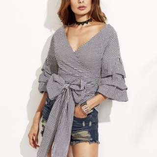 Gingham Check Wrap Top