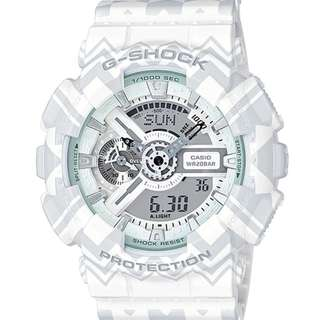 Casio G Shock * GA110TP-7A Anadigi Gshock Watch Tribal Pattern White