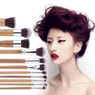 Set brush kuas 11pcs bamboo natural