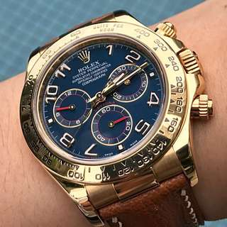Rolex Cosmograph Daytona 18K SOLID GOLD Ref: 116518 Blue Arabic Racing Dial