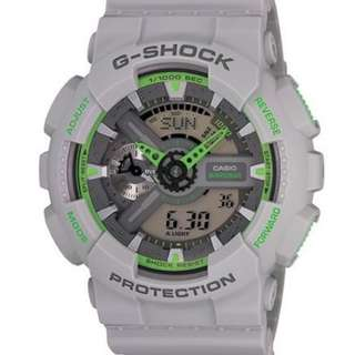 Casio G Shock * GA110TS-8A3 Gshock Watch Matte Ash Grey Neon Green