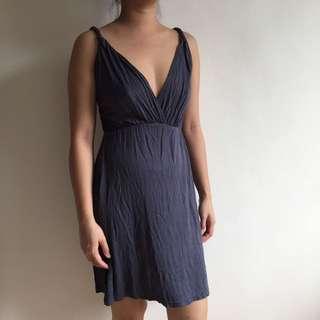 Ash Grey V Neck Dress