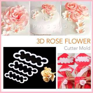 🌹 3D ROSE FLOWER BAKING CUTTER MOLD SET  Cake Decorating Tool for Cookies • Fondant Cake & Cupcake • Bread Dough • Pastry • Sugar Craft • Jelly • Gum Paste • Polymer Clay Art Craft •