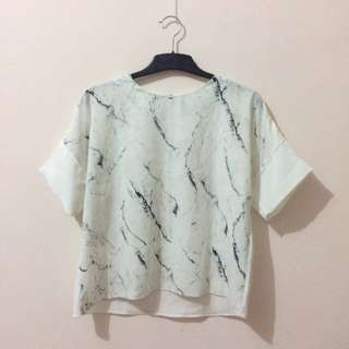 Shopatvelvet White Marble Blouse