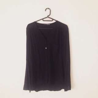 ATMOSPHERE Black Button-Up Long Sleeve Top