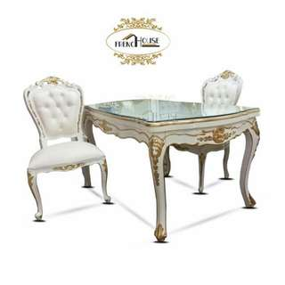 French style dinner table  In Stock  Six  Chair  Glass  On Top