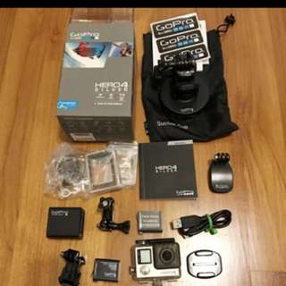 Gopro Hero 4 Silver edition + accessories + batteries