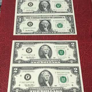 Uncut US$ 1$ and 2$