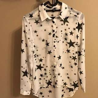 H&M White Blouse with Black Stars (size 32 / S)