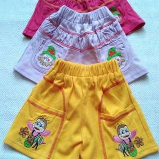 Paket 3 Celana Pendek Baby 1-2thn