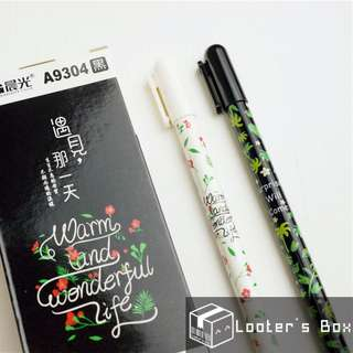 Country Style Floral Black Gel Pen