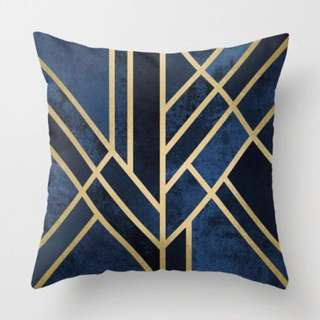 Blue & Gold Lines Cushion Cover