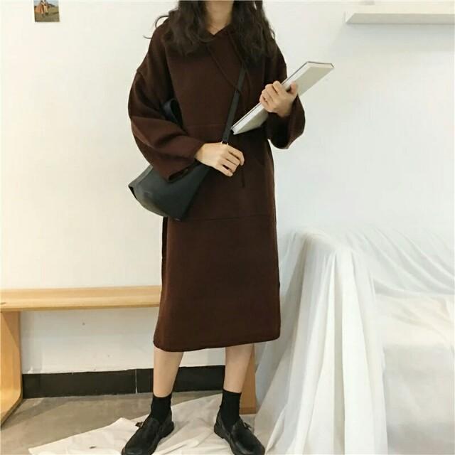 寬鬆連帽針織裙