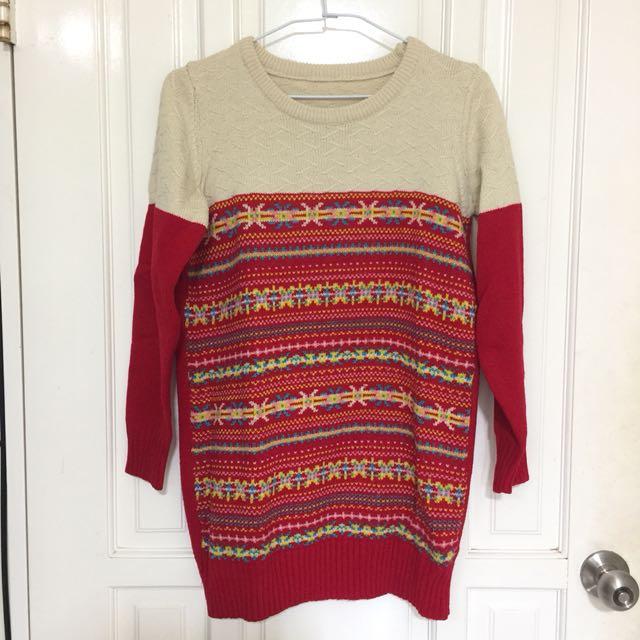 聖誕風長版毛衣